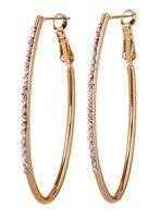 "Swarovski Elements Crystal 2"" Oval Fantastic Hoop Earrings Gold Authentic 7228u"