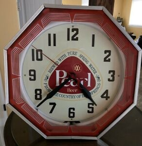 Collectible N.P.I. Pearl Beer Neon Clock