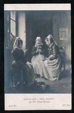 France children LACEMAKERS Petites Dentellieres Salon de Emma Herland 1908 PPC