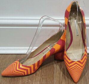 NICHOLAS KIRKWOOD Orange & Red Zig Zag Pointed Metallic Block Heel Pumps Shoes 3