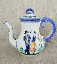 QUIMPER Henriot Large Coffee Cocoa Pot Teapot MAN & WOMAN Made in FRANCE Blue