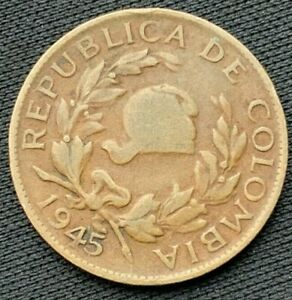 1945 Colombia  5 Centavos XF   Copper Coin    #K592