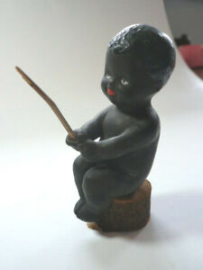 Antique Vintage Bisque Black Americana Figurine Boy on Stump with Fishing Pole