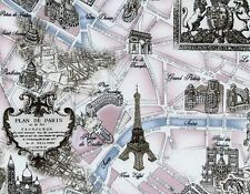 UPHOLSTERY~DECORATOR~Paris Street Map~Landmarks~ Eiffel Tower~Fabric~per 1/4 yd