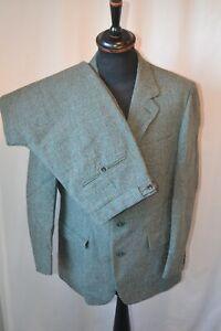 "Vintage 1960's Dunn green border twist thorn proof tweed 2 piece suit 42"" W 36"""