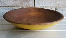 """Antique Primitive Treen Wood Shallow Bowl Painted Yellow Lip 11""""x10""""x2 1/8"""""""