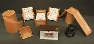 1986 Bandai Mini Doll House Furniture Bed & Chairs Fireplace Stove Play Slide