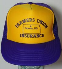 Vintage 1980s FARMERS UNION INSURANCE DOWNS KANSAS FARM SNAPBACK TRUCKER HAT CAP