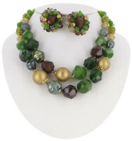 Jewelry Set Necklace Clip On Earrings Multicolor Beaded Cluster West Germany 50s