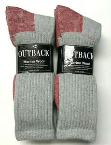 6 Pair Men Merino Wool Gray w/ Red Bottom Hunting/ Hiking Boot Sock Size10-13.