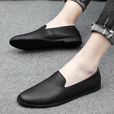 Mens Slip On Casual Loafers Shoes Outdoor Driving  Moccasins Real Leather Flats