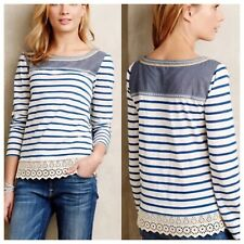 Anthropologie Little Yellow Button Women Sm Blue striped embroidered lace TOP