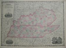 Original Hand Colored Antique Map KENTUCKY & TENNESSEE by Johnson & Ward 1864