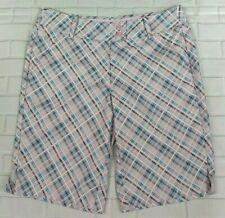Callaway Bermuda Golf Shorts Opti Dry Size Large Pink Blue Athletic Womens