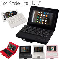 "Folio Case Leather Bluetooth Keyboard Cover For Amazon Kindle Fire HD 7"" Tablet"