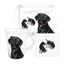 Labrador Dog Tea Time Gift Set.  Black Lab Mug, Biscuit Tray & Coaster. FREE P&P