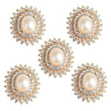5x Alloy Crystal Pearl Flower Buttons Embellishment Jewelry Making Findings