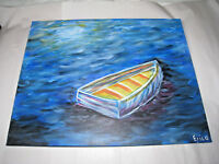 Beautiful Original Art Boat on Water Acrylic Canvas Signed Erica Unframed 16/20""