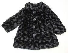 Calvin Klein Jeans Girls' Black Faux Fur Coat Jacket Size 12M $69.50