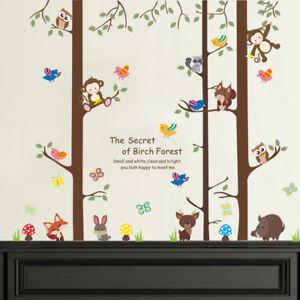 Forest Animals Monkey Fox Rabbit Owl Tree Decal Wall Sticker Children's Bedroom