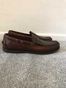 Sebago Docksides Size 9.5 Brown Leather Slip On Casual Mens Comfy Shoes WRN ONCE