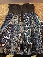 blue snake print dress