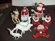 10 pc VINTAGE CHRISTMAS SANTA REINDEER ASSORTED DECORATIONS
