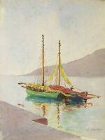 Original watercolor of sailboats, signed and dated 1934 by Maine artist F Orr