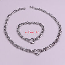 Stainless Steel Sweet Heart Pendant Necklace bracelet Curb Chain JEWELRY set