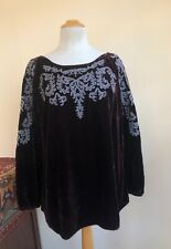 Sundance -Sz L Velvet Embroidered Perfection Lux Brown Shirt Blouse Top