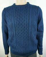 "Men`s Ex-Store Jumper Crew Neck Cable Knit Size Medium 40"" Chest Navy Blue"
