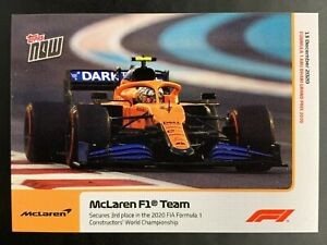 Lando Norris McLaren F1 Team TOPPS NOW F1 2020 CARD #24 PR 1543 Secure 3rd Place