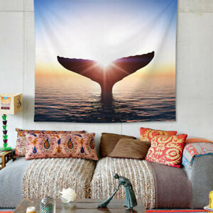 Whale's Tail Painting Printed Art Tapestry Beach Towel Dorm House Wall Hanging
