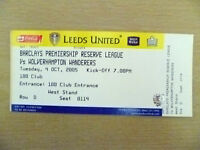 Tickets Reserve League 2005- LEEDS UNITED v WOLVERHAMPTON WANDERERS (Org,Exc*)