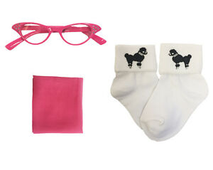 1950s 3 pc Toddler Accessory Set (Chiffon Scarf-Poodle Socks-Cat Eye Glasses)