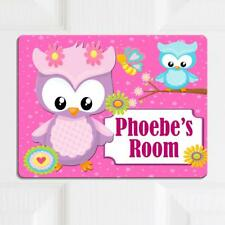 Personalised Door Name Plaque CUTE PINK OWL Girls Kids Bedroom Room Sign KD20