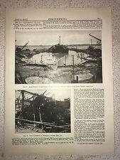 """Wreckage Of United States Battleship """"Maine"""": 1912 Engineering Magazine Print"""