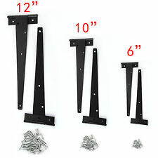 2 BLACK TEE HINGES HEAVY DUTY SHED GATE DOOR STRAP T HINGE PAIR SMALL LARGE 24D