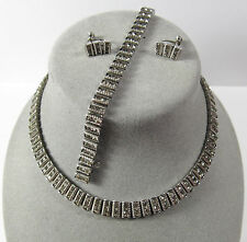 VTG Deco Sterling Silver Necklace Bracelet Earrings Set Parure Catamore Catamor