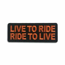 Embroidered Live To Ride Ride to Live Orange Sew or Iron on Patch Biker Patch