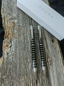 Cross Helios Black & Chrome Striped Ball-Point Pen & 0.9MM Pencil Set