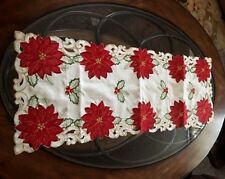 Red Poinsettias Christmas Decor Table Runner Centerpiece Embroidered Shimmery