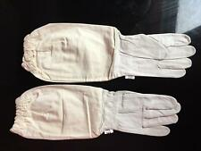 Beekeeping Bee Gloves  Soft White Goats Leather with Cotton Gauntlets All Sizes