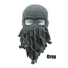 Fashion Tentacle Octopus Cthulhu Knit Beanie Hat Cap Wind Ski Face Mask Cosplay Gray