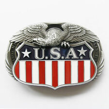 USA 3D Flag w/ Eagle U.S.A. American Metal Belt Buckle