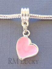 Pink Pendant HEART Silver plated Large hole bead Fit European Charm Bracelet C31