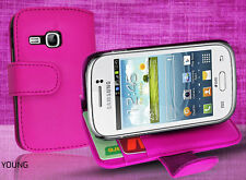 Pink Side Wallet Leather Case Cover for Samsung Galaxy Young S6310 + Screen Gd