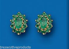 Emerald Earrings Emerald Studs Emerald Cluster Studs Yellow Gold Earrings
