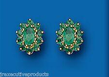Emerald Earrings Emerald Studs Emerald Cluster Studs Yellow Gold Earrings