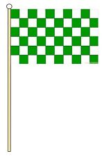 "GREEN AND & WHITE CHECKERED 18"" x 12"" LARGE HAND WAVING COURTESY FLAG & POLE"